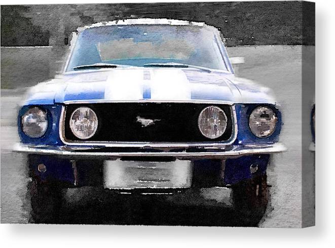 Ford Mustang Canvas Print featuring the painting 1968 Ford Mustang Front End Watercolor by Naxart Studio