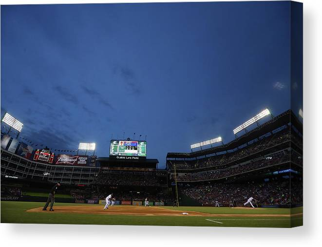American League Baseball Canvas Print featuring the photograph Boston Red Sox V Texas Rangers by Ronald Martinez
