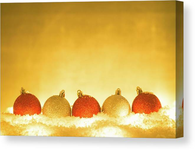 Fake Snow Canvas Print featuring the photograph Christmas Decorations by Deimagine