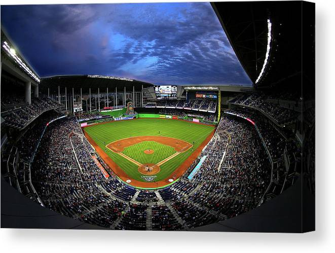American League Baseball Canvas Print featuring the photograph Colorado Rockies V Miami Marlins by Mike Ehrmann