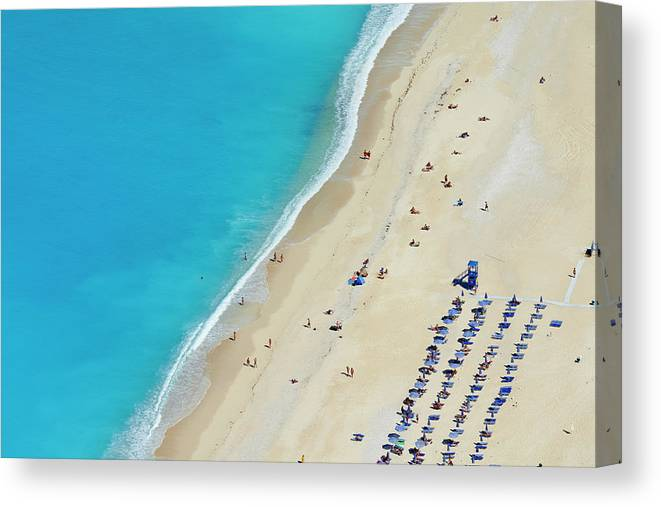 Water's Edge Canvas Print featuring the photograph Greece, Ionian Island, Cephalonia by Tuul & Bruno Morandi