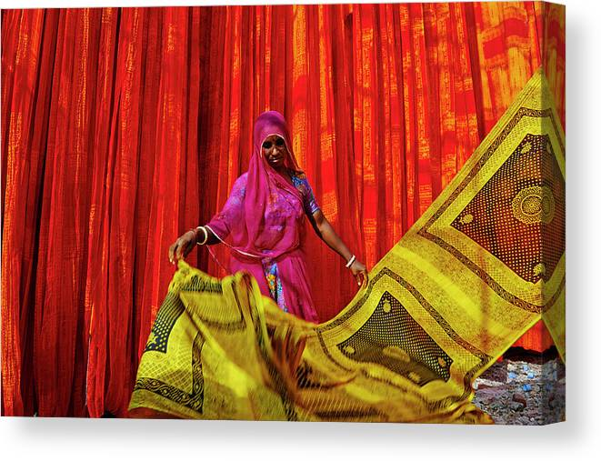Working Canvas Print featuring the photograph India, Rajasthan, Sari Factory by Tuul & Bruno Morandi
