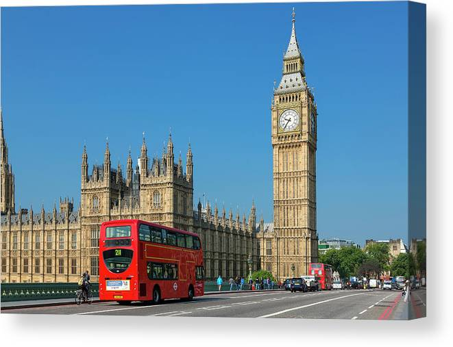 Clock Tower Canvas Print featuring the photograph London, Big Ben And Traffic On by Sylvain Sonnet