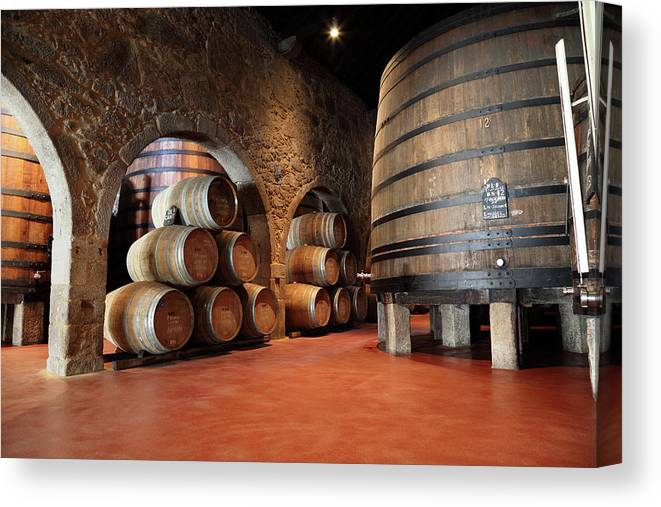 Fermenting Canvas Print featuring the photograph Porto Wine Cellar by Vuk8691