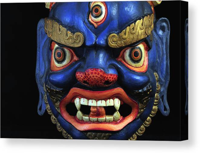 Colorful Canvas Print featuring the photograph Sikkim Dance Mask, India by Theodore Clutter