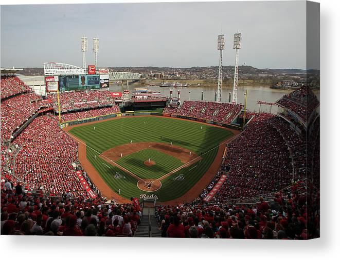 Great American Ball Park Canvas Print featuring the photograph St. Louis Cardinals Vs. Cincinnati Reds by John Grieshop