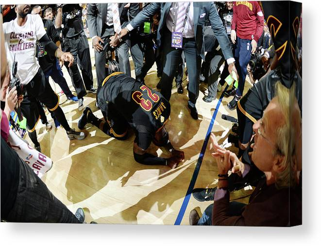 Playoffs Canvas Print featuring the photograph 2016 Nba Finals - Game Seven by Andrew D. Bernstein