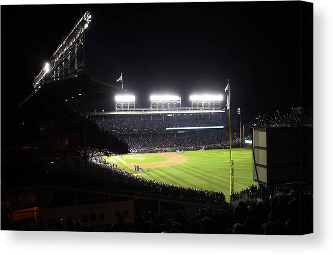 Playoffs Canvas Print featuring the photograph 2016 World Series - Cleveland Indians by Rob Tringali