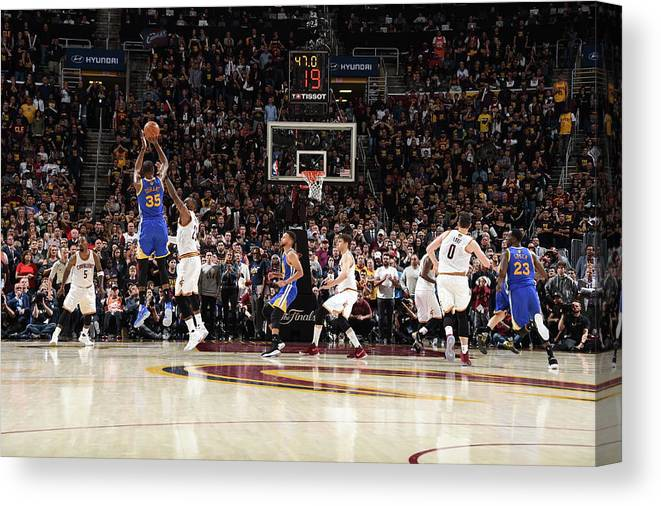 Playoffs Canvas Print featuring the photograph 2017 Nba Finals - Game Three by Andrew D. Bernstein