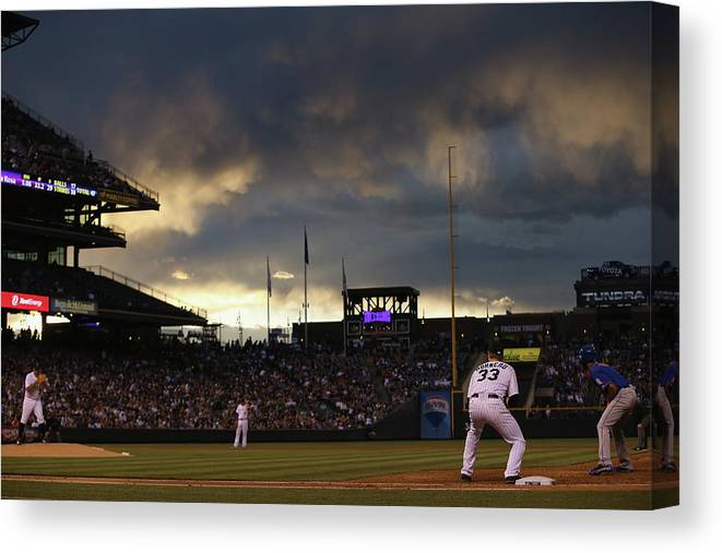 National League Baseball Canvas Print featuring the photograph New York Mets V Colorado Rockies by Doug Pensinger