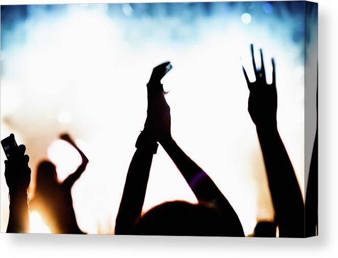 Rock Music Canvas Print featuring the photograph Concert Crowd by Alenpopov