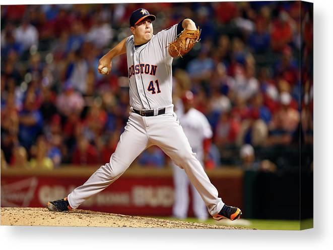 American League Baseball Canvas Print featuring the photograph Houston Astros V Texas Rangers by Tom Pennington