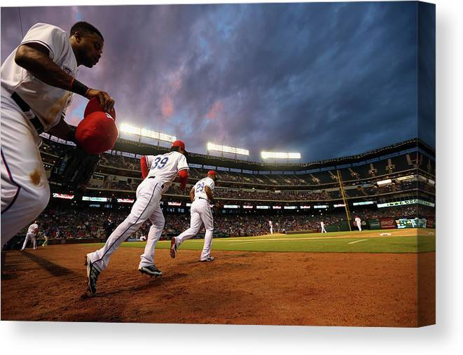 American League Baseball Canvas Print featuring the photograph Kansas City Royals V Texas Rangers by Ronald Martinez