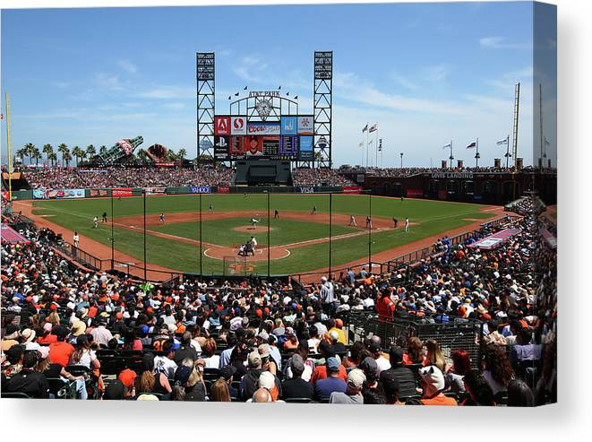 San Francisco Canvas Print featuring the photograph Los Angeles Dodgers V. San Francisco by Brad Mangin