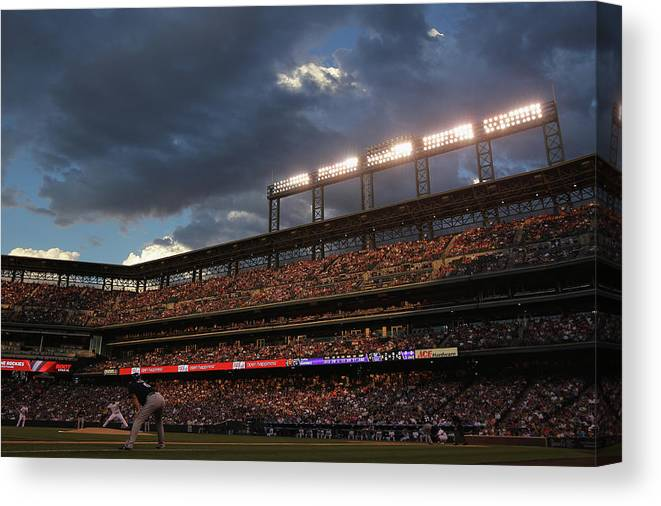 National League Baseball Canvas Print featuring the photograph Milwaukee Brewers V Colorado Rockies by Doug Pensinger