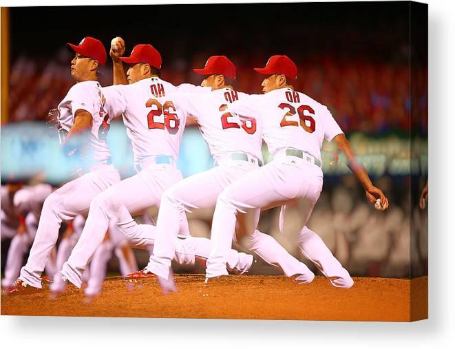 St. Louis Cardinals Canvas Print featuring the photograph Philadelphia Phillies V St Louis by Dilip Vishwanat