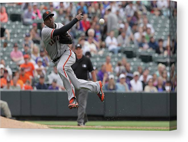 Ninth Inning Canvas Print featuring the photograph San Francisco Giants V Colorado Rockies by Doug Pensinger
