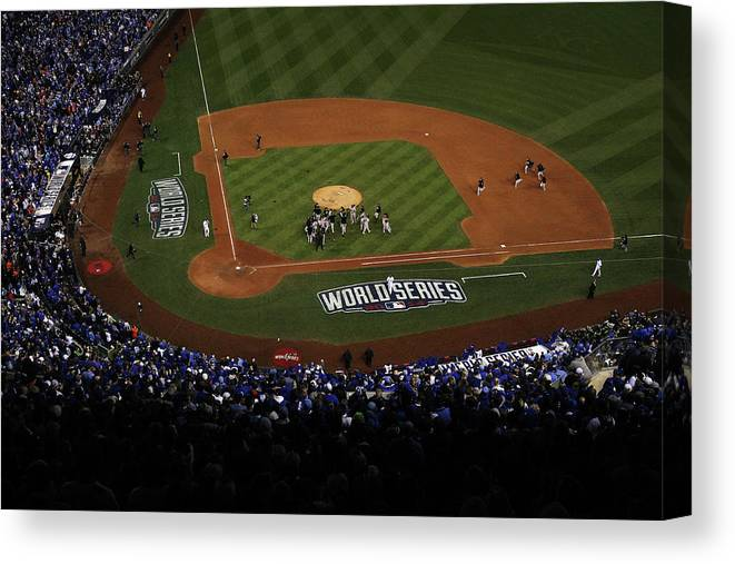 American League Baseball Canvas Print featuring the photograph World Series - San Francisco Giants V by Ezra Shaw