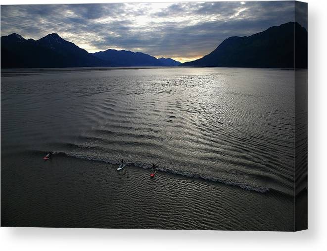 Tidal Bore Canvas Print featuring the photograph Feature - Bore Tide Surfing In Alaska by Streeter Lecka