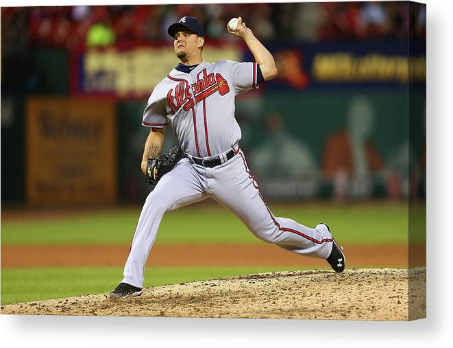 Relief Pitcher Canvas Print featuring the photograph Atlanta Braves V St. Louis Cardinals by Dilip Vishwanat