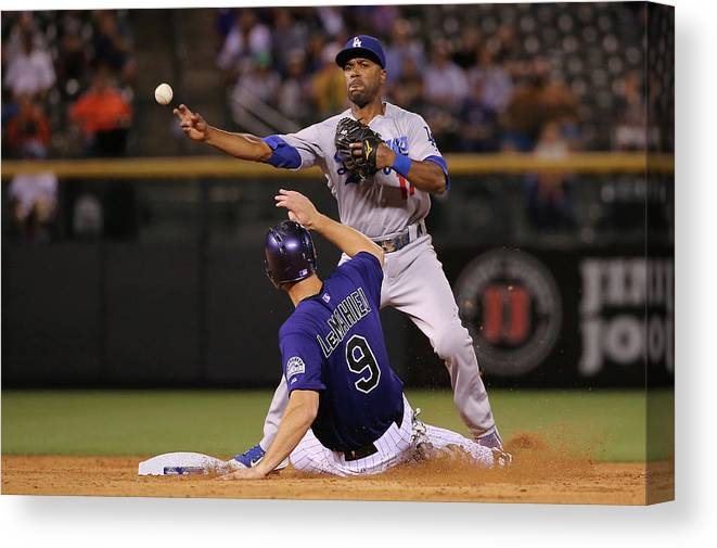American League Baseball Canvas Print featuring the photograph Los Angeles Dodgers V Colorado Rockies by Doug Pensinger