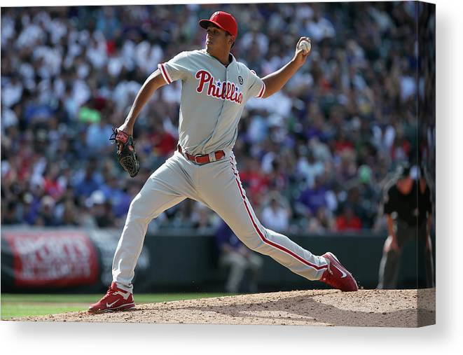 Relief Pitcher Canvas Print featuring the photograph Philadelphia Phillies V Colorado Rockies by Doug Pensinger