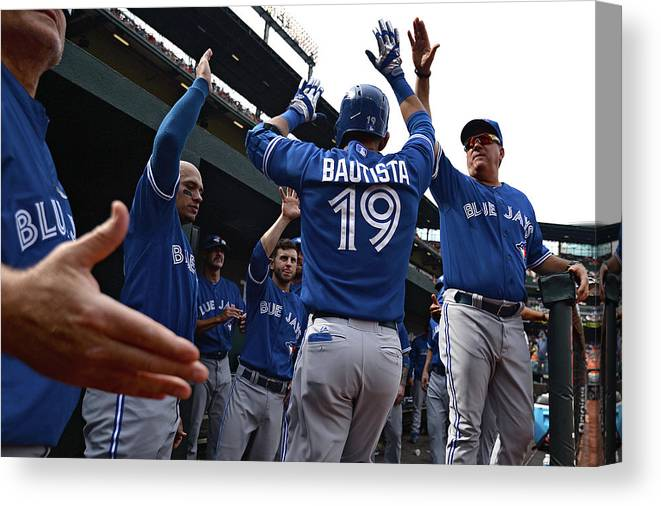 American League Baseball Canvas Print featuring the photograph Toronto Blue Jays V Baltimore Orioles by Patrick Smith