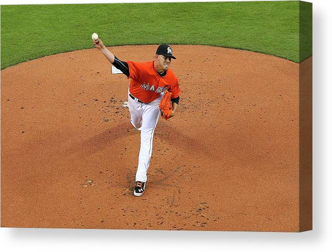 People Canvas Print featuring the photograph Colorado Rockies V Miami Marlins by Mike Ehrmann
