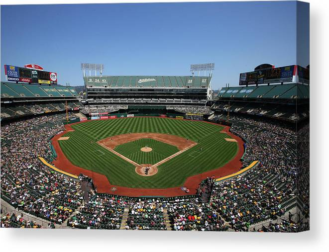 American League Baseball Canvas Print featuring the photograph Houston Astros Vs. Oakland Athletics by Brad Mangin