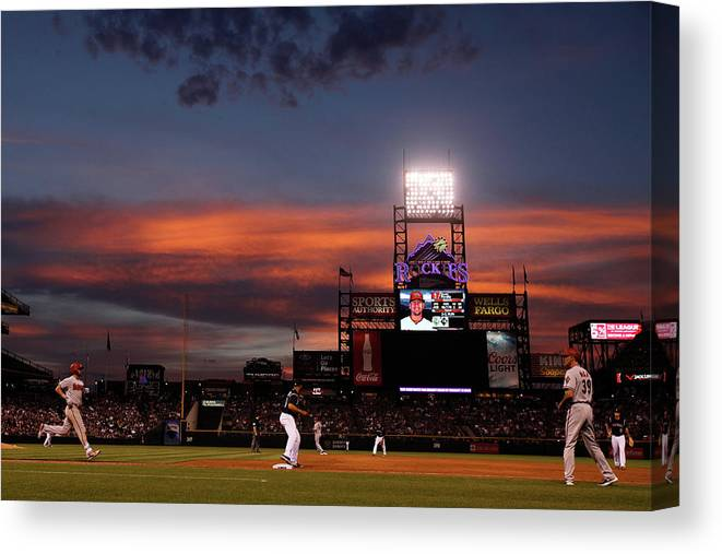 American League Baseball Canvas Print featuring the photograph Arizona Diamondbacks V Colorado Rockies by Doug Pensinger