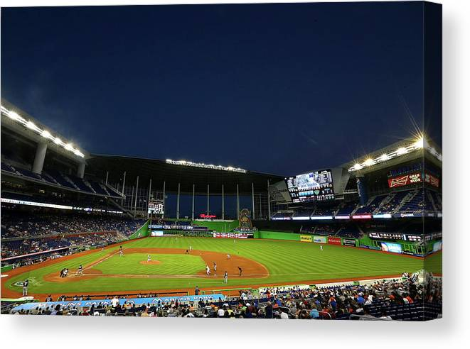 American League Baseball Canvas Print featuring the photograph San Diego Padres V Miami Marlins by Mike Ehrmann