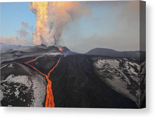 Feb0514 Canvas Print featuring the photograph Tolbachik Volcano Erupting Kamchatka by Sergey Gorshkov