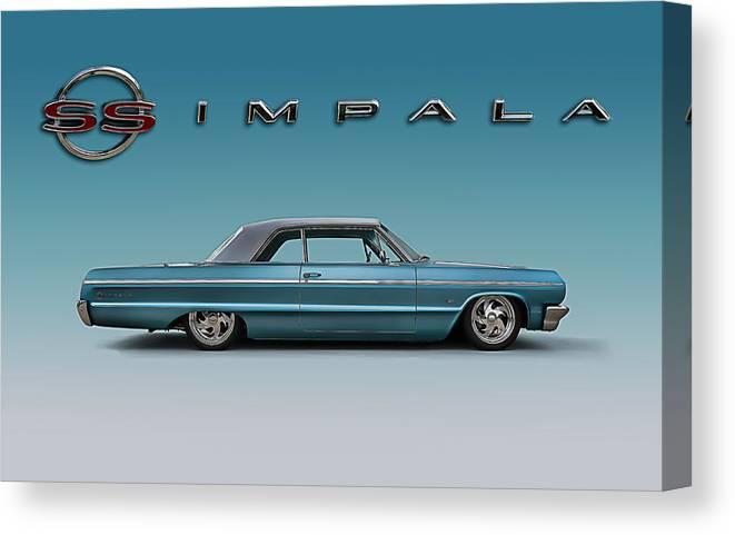 Impala Canvas Print featuring the digital art '64 Impala SS by Douglas Pittman
