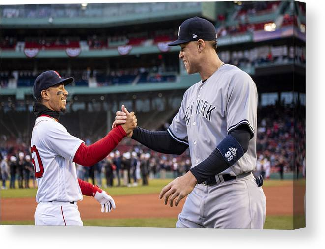 Three Quarter Length Canvas Print featuring the photograph New York Yankees v Boston Red Sox by Billie Weiss/Boston Red Sox