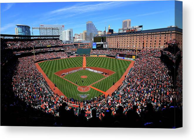 People Canvas Print featuring the photograph Boston Red Sox V Baltimore Orioles by Rob Carr