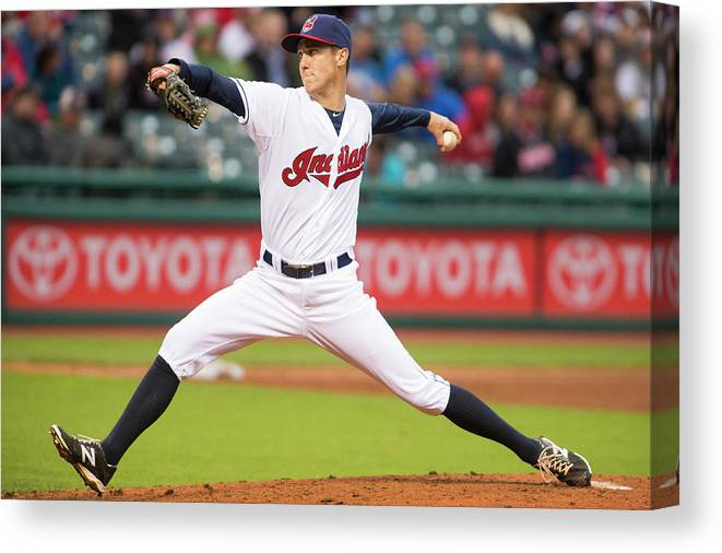 Second Inning Canvas Print featuring the photograph Oakland Athletics V Cleveland Indians by Jason Miller