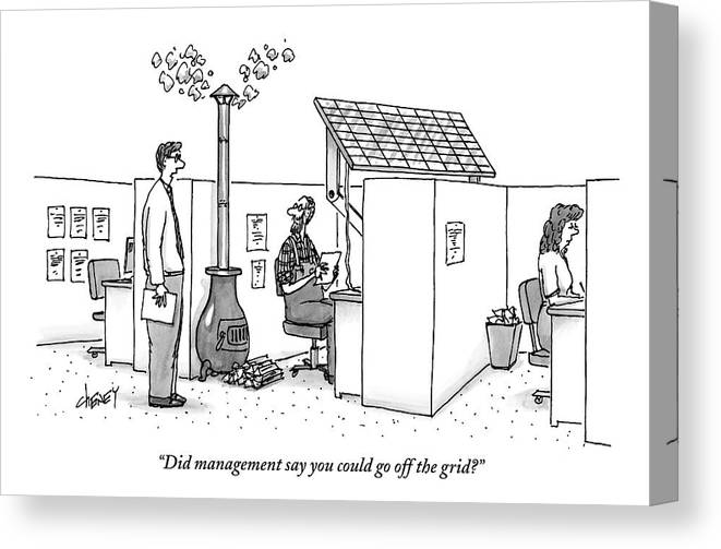 Solar Energy Canvas Print featuring the drawing A Man Wearing Overalls Has A Solar Panel Hooked by Tom Cheney