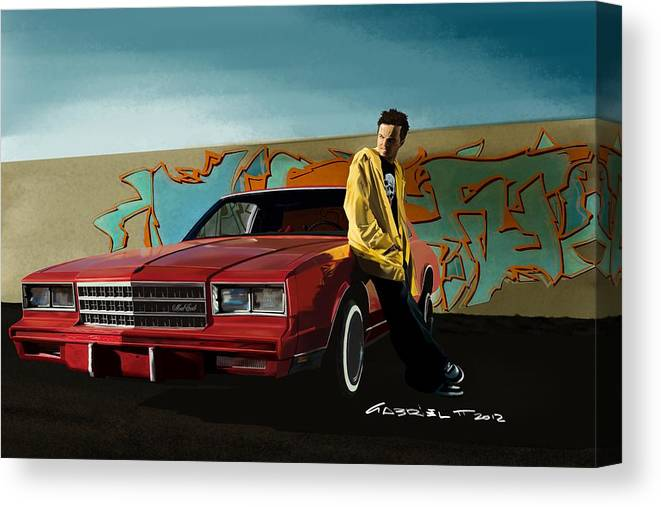 Aaron Paul Canvas Print featuring the digital art Aaron Paul as Jesse Pinkman @ TV serie Breaking Bad by Gabriel T Toro