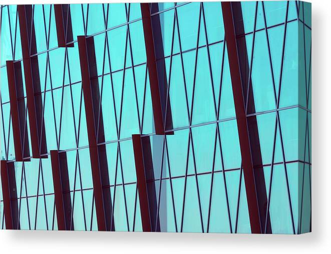 Ceiling Canvas Print featuring the photograph Abstract Glass Surface With Geometric by Aapsky