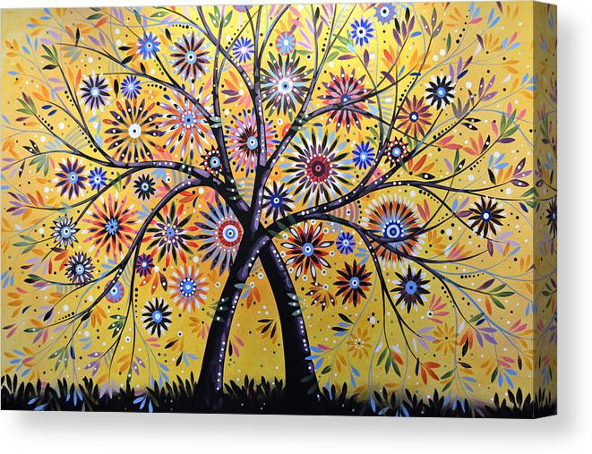 Nature Canvas Print featuring the painting Abstract Modern Flowers Garden Art ... Flowering Tree by Amy Giacomelli