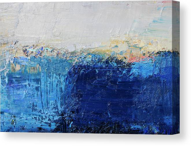 Oil Painting Canvas Print featuring the photograph Abstract Painted Blue Art Backgrounds by Ekely