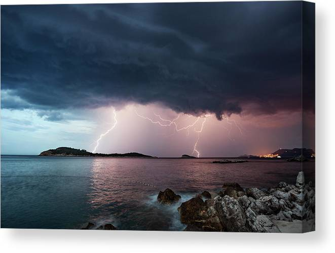 Adriatic Sea Canvas Print featuring the photograph Adriatic Lightning by Image By Chris Winsor
