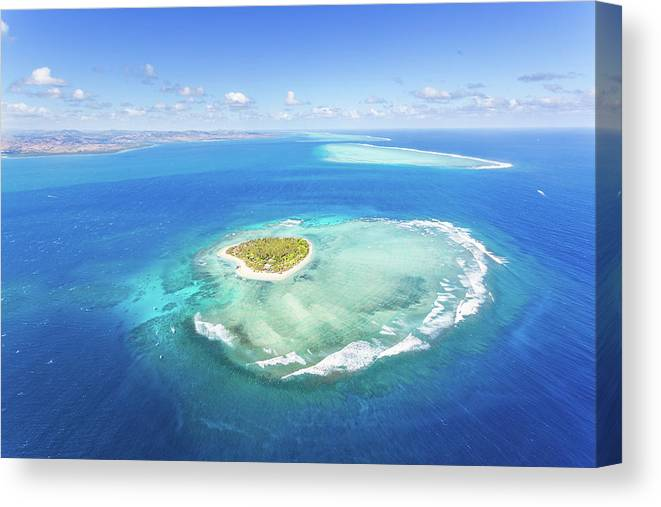 Tranquility Canvas Print featuring the photograph Aerial View Of Heart Shaped Island by Matteo Colombo