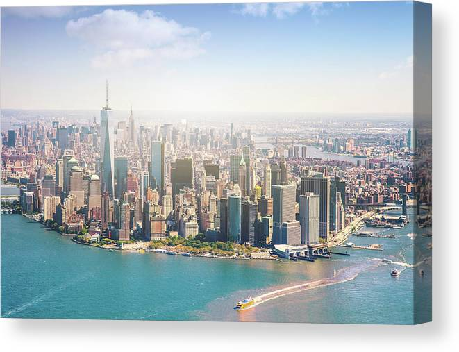 Lower Manhattan Canvas Print featuring the photograph Aerial View Of Manhattan - New York by Leopatrizi