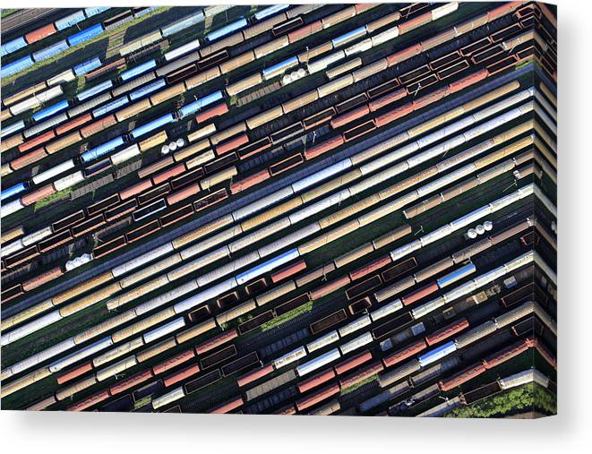 Freight Transportation Canvas Print featuring the photograph Aerial View Of The Railway Station by Dariuszpa