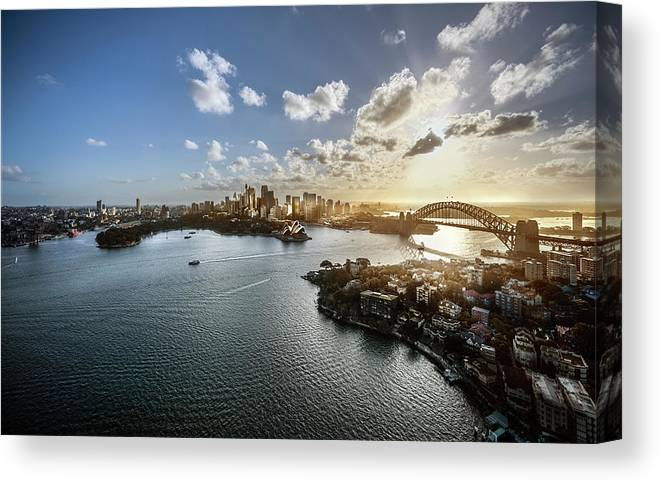 Sydney Harbor Bridge Canvas Print featuring the photograph Aeriall View Of Sydney Harbour At Sunset by Howard Kingsnorth