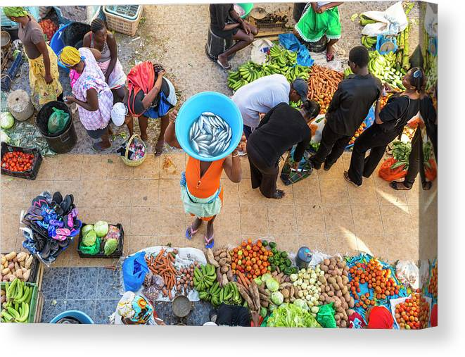 People Canvas Print featuring the photograph African Market, Assomada, Santiago by Peter Adams