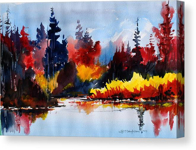 Lakes Reflections Fall Colours Forests Trees Canvas Print featuring the painting All things bright nd beautiful by Wilfred McOstrich