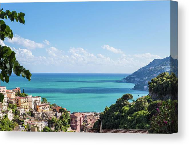 Scenics Canvas Print featuring the photograph Amalfi Coast Landscape Vietri Village by Angelafoto
