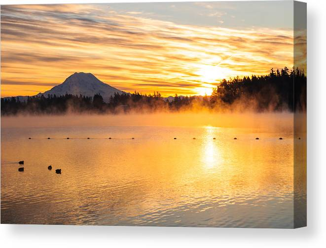 Rainier Canvas Print featuring the photograph American Lake Misty Sunrise by Tikvah's Hope